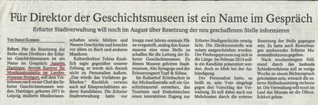 Tageszeitung Thüringer Allgemeine vom 18.08.2014 berichtet erstmals über die Personalie Hartinger.