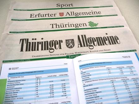 Thüringer allgemeine vom 3.11.2014 und Media Perspektiven mit Auflagenzahlen. Foto: mip