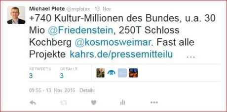 Offensiv informiert: 740 Mio. zusätzlich für Kultur vom Bund. Screenshots. mip