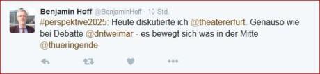 Kulturminister Hoff zwitschert und sieht Bewegung. Screenshot: mip