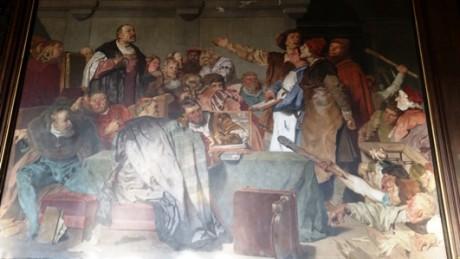 """""""Tolles Jahr"""" der Stadt Erfurt 1509/10. Aufruhr der Bürger gegen schlechte Wirtschaftsführung der Stadt. Gemälde im Erfurter Rathausfestsaal. Foto: mip"""