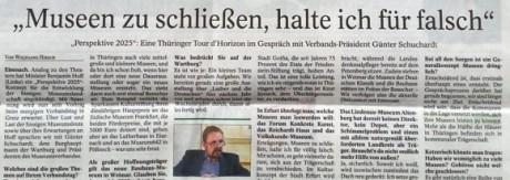 Museumsverband Thüringen hält Schließungen von Museen für falsch.