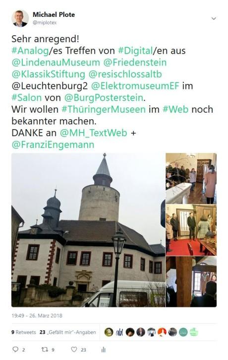 Twittern über das erste Blogger-Treffen im Museum Burg Posterstein. (Screenshot: mip)