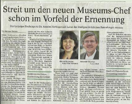 Thüringer Allgemeine Erfurt vom 10.09.2014 mit der Kritik von Steffen Raßloff.