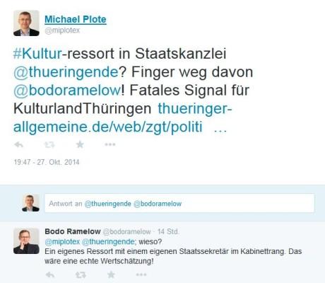 Bodo Ramelow zwitschert zurück: Kulturpolitik künftig in Staatskanzlei.