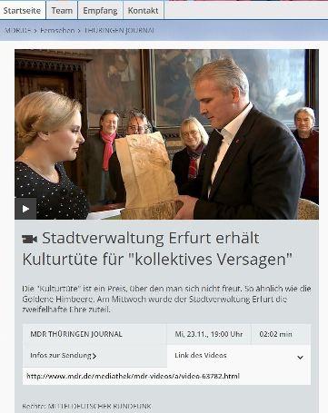 Negativpreis an Oberbürgermeister Bausewein für Sparen, Streichen, Schließen von Kultureinrichtungen in Erfurt. Fotos/Screenshots: mip